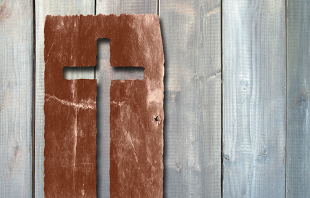 Old vintage Christian paper cross over wood wall background Archivio Fotografico