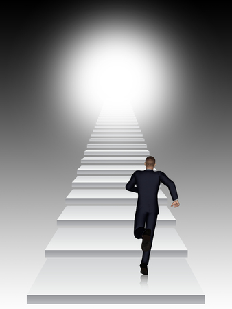 white achievement: Conceptual 3D business man running or climbing stair on black  background with light Stock Photo