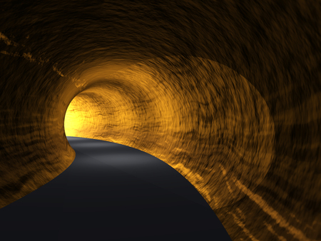Conceptual dark abstract road tunnel with bright light at the end background Standard-Bild