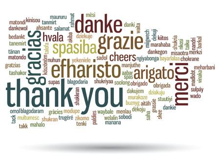 languages: Conceptual gracias nube de palabras aisladas para los negocios o el Día de Acción de Gracias