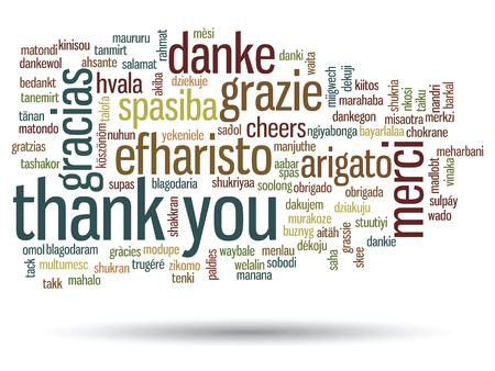english word: Conceptual thank you word cloud isolated for business or Thanksgiving Day