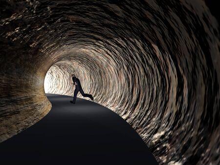 tunel: Conceptual Hombre de negocios 3D, túnel oscuro camino con la luz brillante en el fondo final