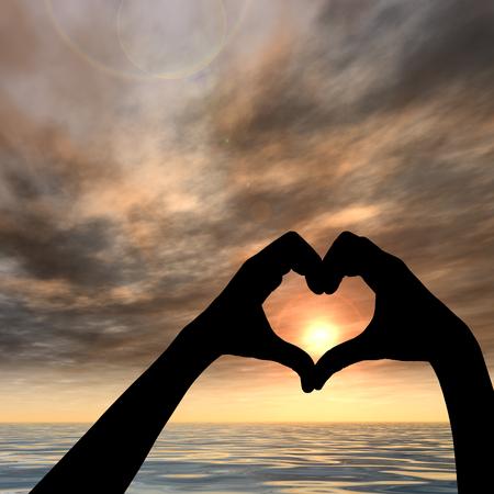 romaans: Zonsondergang silhouet achtergrond conceptuele hart vorm
