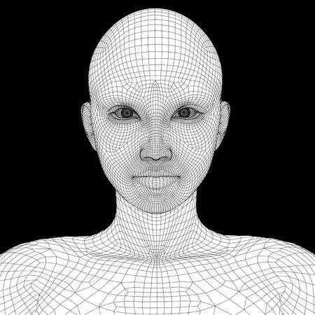 概念または概念 3 D ワイヤ フレーム若い人間女性または女性の顔や頭の背景に分離