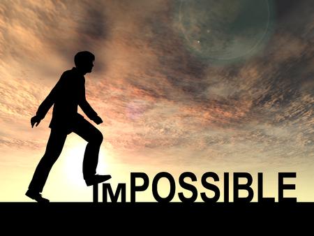 Úspěch: Koncepční nemožné textu koncepce s mužem při západu slunce pozadí Reklamní fotografie