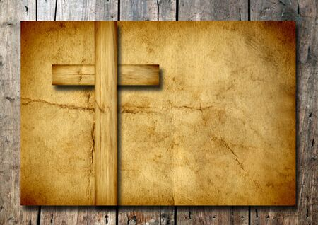 Old vintage Christian paper cross over wood wall background Banco de Imagens