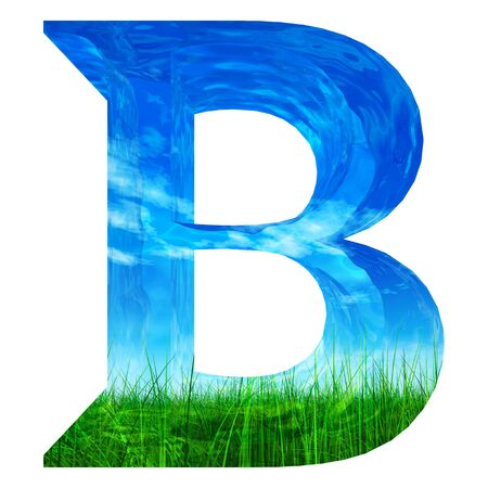 3d alphabet letter abc: Conceptual green summer grass font isolated on white