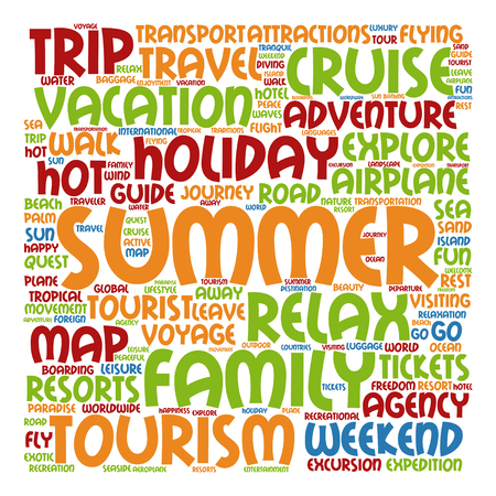 word: Conceptual travel or tourism word cloud isolated on background
