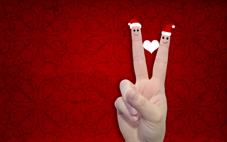 Conceptual Christmas Fingers In Love On Vintage Old Red Background ...