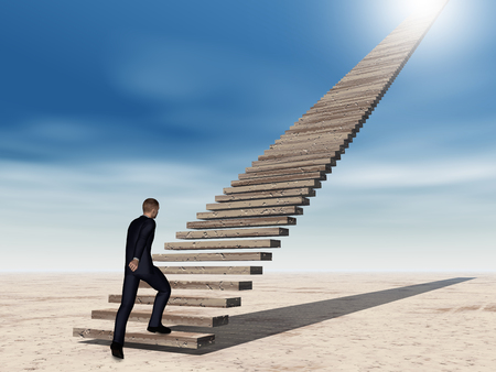 hope: Conceptual 3D business man walking or climbing stair on sky background with clouds