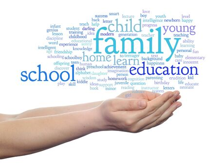 love strategy: Conceptual education word cloud in hands isolated on background