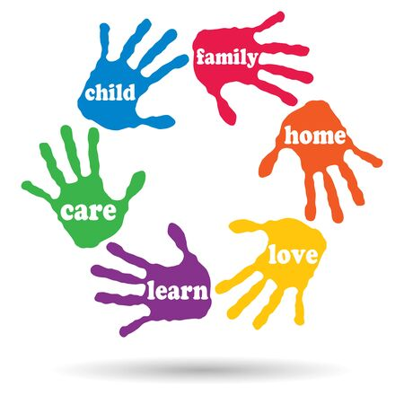 families together: Concept or conceptual circle of colorful hand print word cloud text made by children isolated, white background Stock Photo
