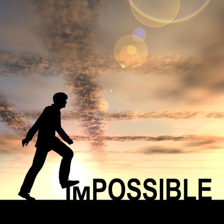 Conceptuele onmogelijk tekst concept met een man bij zonsondergang op de achtergrond