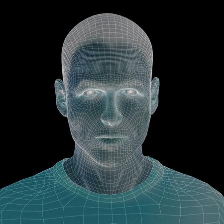 Konzept oder konzeptionelle 3D-Draht jungen männlichen Menschen oder Menschen Gesicht oder den Kopf auf hintergrund isoliert Standard-Bild - 50225016