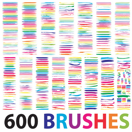 Very large collection or set of 600 artistic colorful paint brush strokes isolated on white background