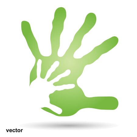 dirty girl: Vector conceptual mother and child hand print isolated on white background