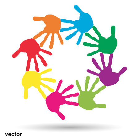 friendship circle: Vector concept or conceptual children painted hand print isolated on white background