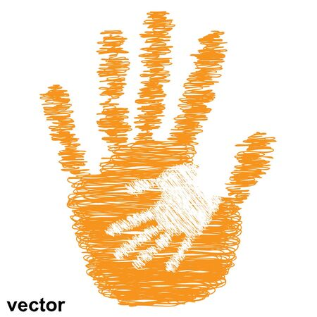 conceptual cute: Vector concept or conceptual cute drawing orange paint hands of mother and child isolated on white background Illustration