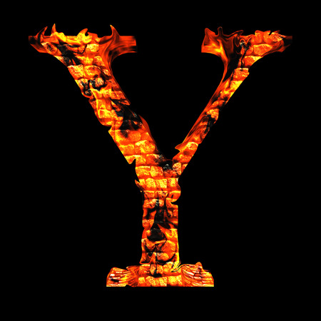 Conceptual red hot burning fire font  in red and orange flames isolated on black background