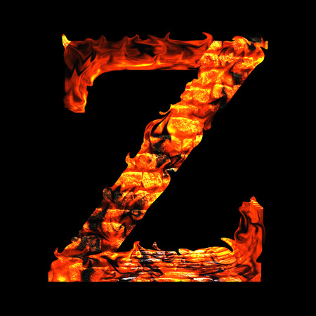 fervent: Conceptual red hot burning fire font  in red and orange flames isolated on black background