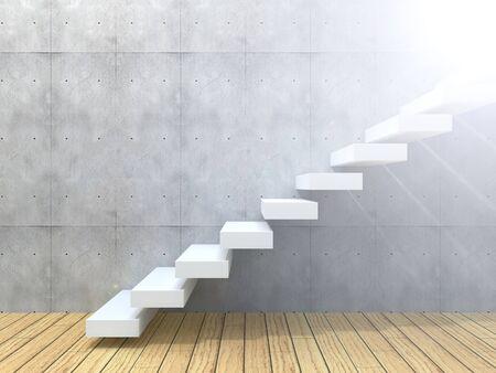 Koncepcyjne biały kamień lub beton schody lub kroki w pobliżu ścianie w tle