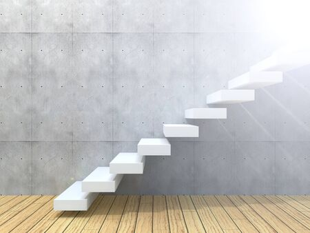 Conceptual white stone or concrete stair or steps near a wall background