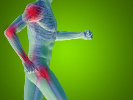 articulaciones: Conceptual anatomía cuerpo humano dolor articular en fondo verde