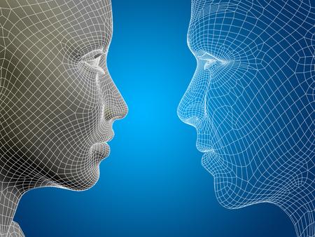 概念または概念 3 D ワイヤ フレームまたはメッシュ男性と女性頭部青色の背景に