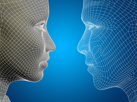 matrix: Concept or conceptual 3D wireframe or mesh human male and female head on blue background Stock Photo