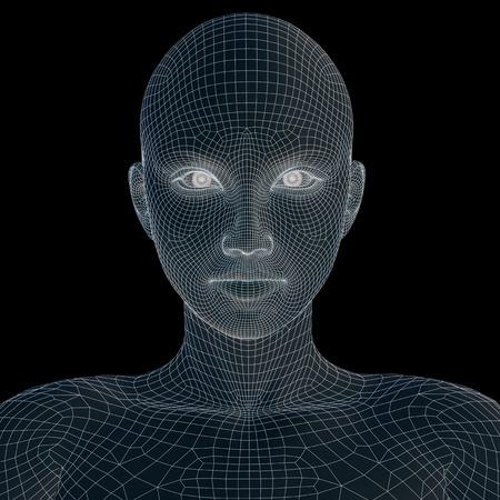 Konzept oder konzeptionelle 3D-Draht jungen weiblichen Menschen oder Frau das Gesicht oder den Kopf auf hintergrund isoliert Standard-Bild - 50314286