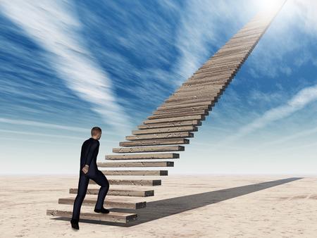 概念的な 3 D ビジネス男ウォーキングや雲と空を背景に階段を登る