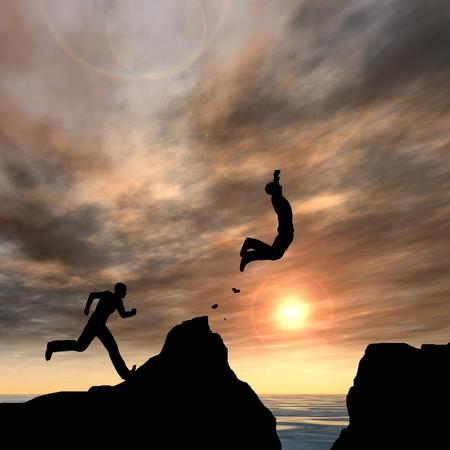 libertad: Conceptual hombre de negocios silueta saltando en el fondo del cielo puesta de sol Foto de archivo