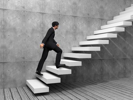 climbing stairs: Hombre de negocios conceptual subir una escalera sobre una pared y el piso