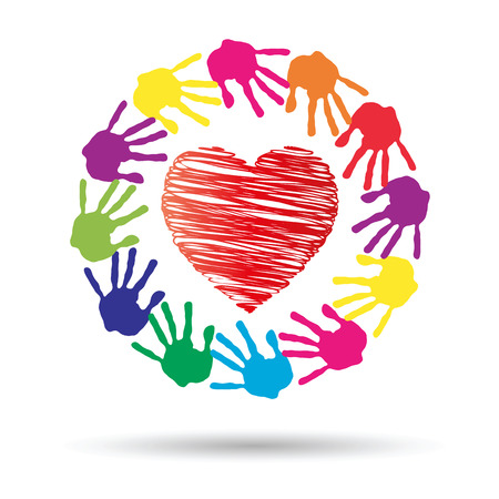 child care: Conceptual circle or spiral made of painted human hands with red heart love or health symbol