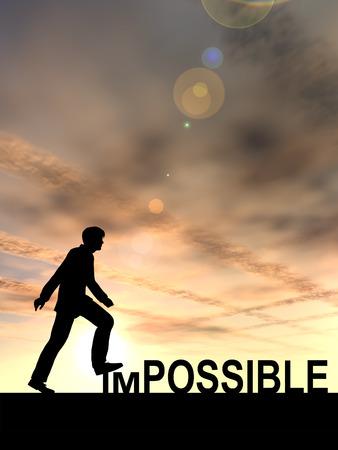 actitud positiva: Conceptual concepto de texto imposible con un hombre al fondo del atardecer