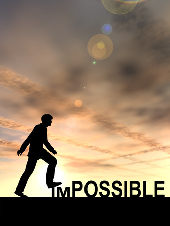 people attitude: Conceptual impossible text concept with a man at sunset background