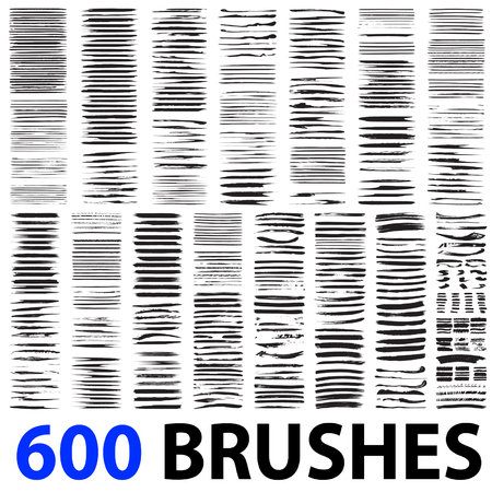 stroke: Vector very large collection or set of 600 artistic black paint brush strokes isolated on white background