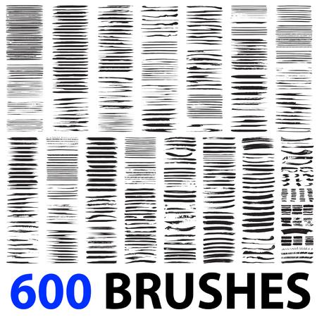 Vector zeer grote collectie of een reeks van 600 artistieke zwarte verf penseel streken op een witte achtergrond