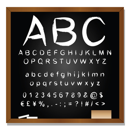 chalk drawing: Conceptual set or collection of white handwritten, sketch or scribble font isolated on blackboard background Stock Photo