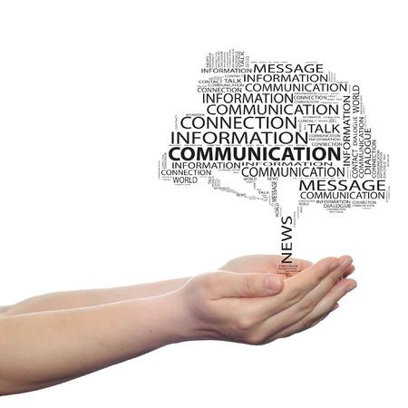 概念の通信木単語雲手背景