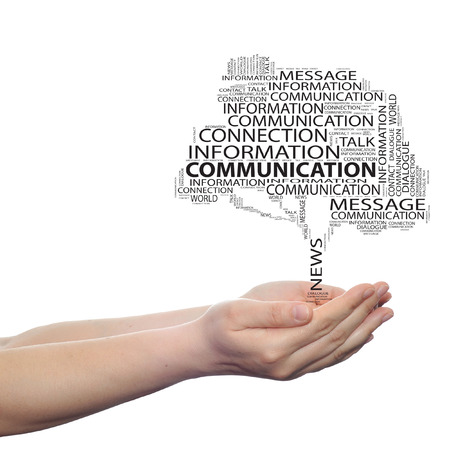 Conceptual communication tree word cloud hand background
