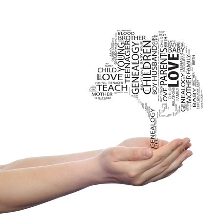 love strategy: Conceptual education tree word cloud hand background