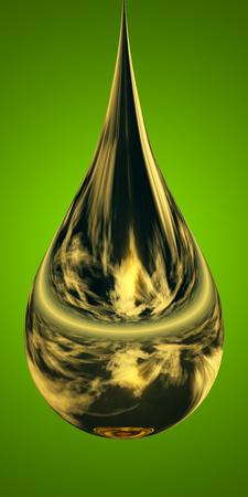 paint drop: Concept or conceptual abstract liquid color paint drop falling, green gradient background