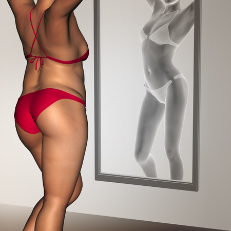 slim tummy: Conceptual 3D woman, girl as fat overweight vs fit healthy underweight anorexic female before and after diet in mirror
