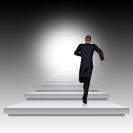 future background: Conceptual 3D business man running or climbing stair on black background with light