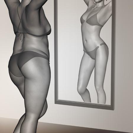 espejo: Conceptual 3D mujer, chica en forma de grasa sobrepeso vs ajuste femenino sano anor�xica bajo peso antes y despu�s de la dieta en el espejo