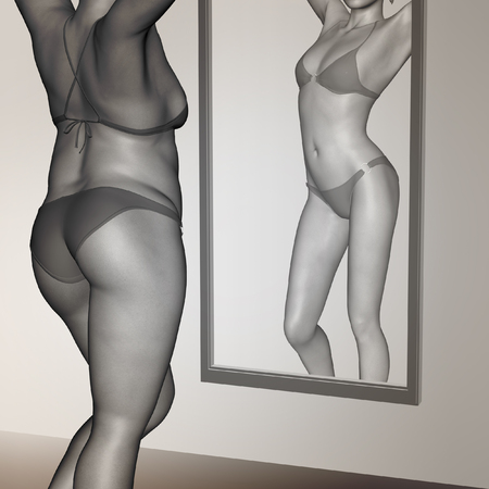 at the mirror: Conceptual 3D woman, girl as fat overweight vs fit healthy underweight anorexic female before and after diet in mirror