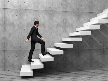 escalando: Hombre de negocios conceptual subir una escalera sobre una pared y el piso