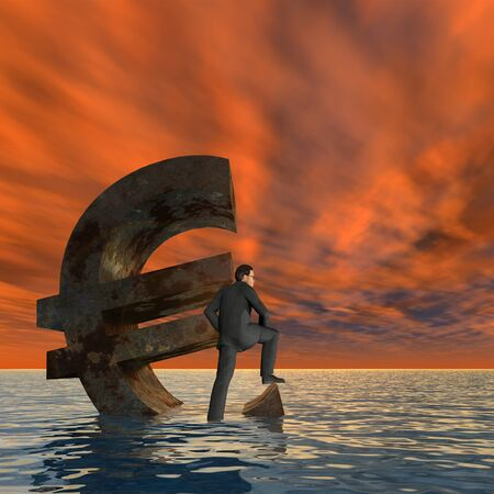 busines: Conceptual Euro crisis with a busines man sinking at sunset sky background