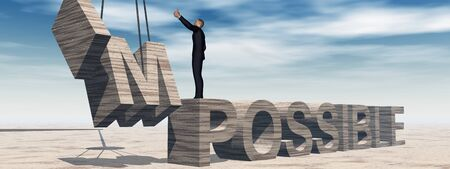 vision problems: Conceptual 3D business man standing over abstract stone impossible text over sky banner